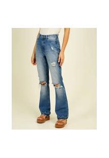 Calça Jeans Flare Feminina Destroyed Marisa