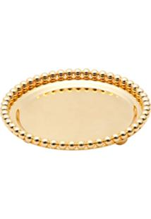 Bandeja Redonda De Zamac Silver Plated Balls Dourado