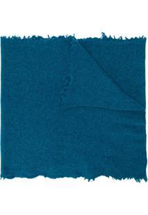 Altea Cachecol De Lã Virgem Com Acabamento Desfiado - Azul