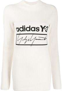 Y-3 Central Logo Ribbed Knit Sweater - Branco