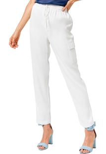 Calça Mx Fashion De Viscose Annalise Off White