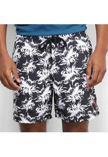 Bermuda Aleatory Pineapple Listras Masculina - Masculino-Preto+Branco