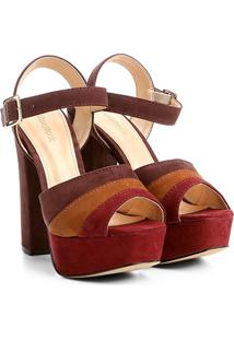 Sandália Couro Shoestock Meia Pata Mix Color Feminina - Feminino-Bordô
