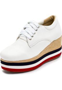 Tênis Anabela Mr Shoes Aberta Salto Médio Confortavel 170404 - Branco - Kanui