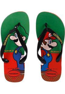Chinelo Masculino Havaianas Mario Bros Vermelho/Verde