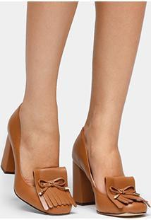 Scarpin Couro Shoestock Salto Alto Franjas - Feminino-Caramelo