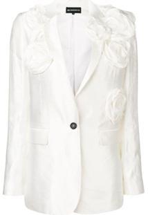 Ann Demeulemeester Blusa Com Aplicação Floral - Branco