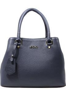 Bolsa De Couro Recuo Fashion Bag Baú Azul
