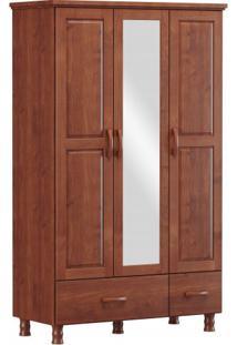 Roupeiro 4 Portas 2 Gavetas E 1 Espelho Finestra Linha Bronze Cor Imbuia