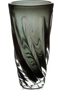 Vaso Em Vidro Unique 25Cm Cinza