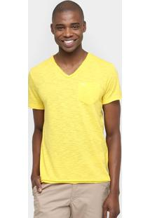 Camiseta Sérgio K. Gola V Bolso - Masculino-Amarelo