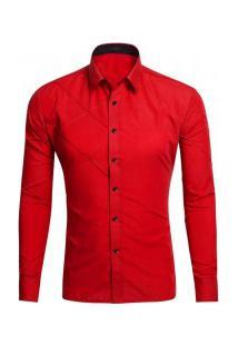 Camisa Masculina Slim Fit Com Detalhes Em Costura Manga Longa - Vermelho