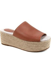 Tamanco Couro Shoestock Flatform Corda - Feminino-Caramelo