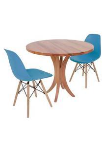 Conjunto Mesa De Jantar Tampo De Madeira 90Cm Com 2 Cadeiras Eiffel - Turquesa