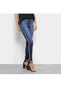 b75a7053d ... Calça Jeans Skinny Coffee Barra Desfiada Cintura Média Feminina -  Feminino-Azul