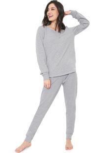 Pijama Bela Notte Listrado Cinza