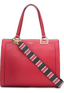 Tosca Blu Bolsa Tiracolo Com Costura Contrastante - Vermelho