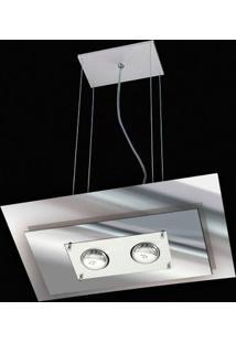 Pendente De Vidro Spacial Retangular Espelhado Para 2 Lâmpadas Prata Pantoja