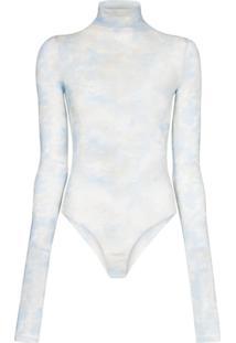 Off-White Body Translúcido Com Estampa - Azul