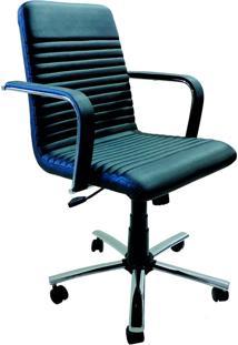Cadeira Diretor Com Braços E Base Giratória Cromada Personalitê Movelfar - Carbono - Multistock