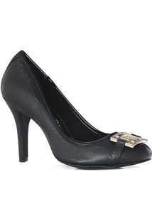 Sapato Tradicional Em Couro Texturizado Com Aviamento- Pcarmen Steffens