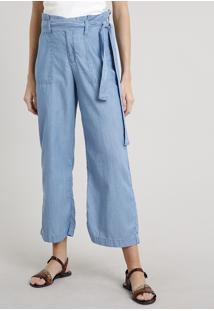 Calça Jeans Feminina Reta Clochard Cropped Com Faixa Para Amarrar Azul Claro