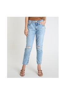 Calça Jeans Feminina Mom Cintura Super Alta Destroyed Com Cinto Azul Claro