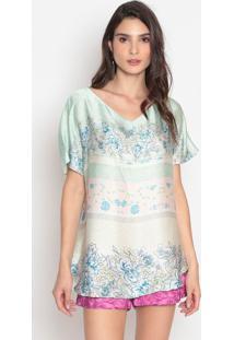 Blusa Acetinada Floral - Verde Claro & Branca- Cottocotton Colors Extra
