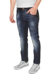 Calça Jeans Zune Skinny Estonada Azul-Marinho