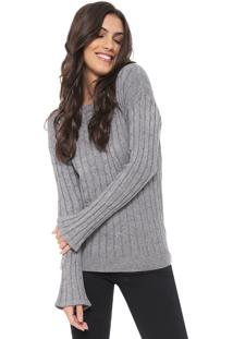 Suéter Facinelli By Mooncity Tricot Mangas Flare Cinza