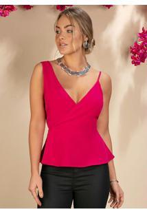 Blusa Pink Com Alças Assimétricas E Babados