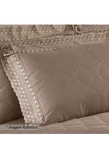 Porta Travesseiro Cristal Renascença- Marrom- 70X50Cbuettner