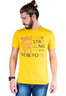 Camiseta Mister Fish Estampado Stay Strong Ney York City Mostarda