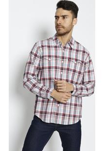 Camisa Xadrez Com Linho - Azul Claro & Vermelhalevis