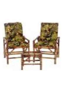 Conjunto Mesa E 2 Cadeiras De Bambu Cancun Para Área Edicula Jardim G20