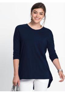 Blusa Alongada Decote V Azul