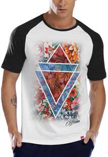 Camiseta Raglan Wevans Geometrico Floral Branco