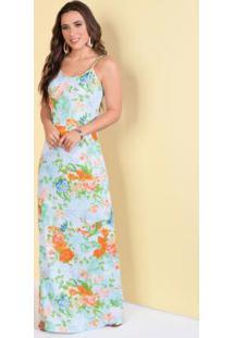 Vestido De Alças Floral Azul