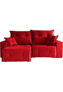 Sofá 3 Lugares Retrátil E Reclinável Athenas Suede Vermelho