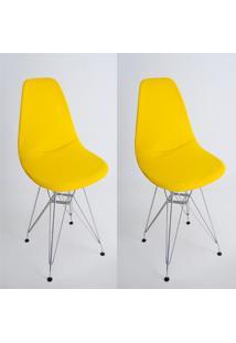 Kit Com 02 Capas Para Cadeira De Jantar Eiffel Wood Amarelo - Kanui