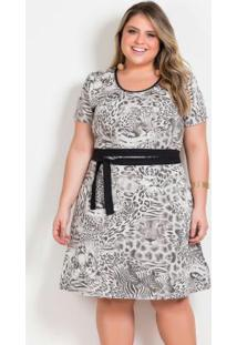 Vestido Animal Print Com Faixa Grátis Plus Size