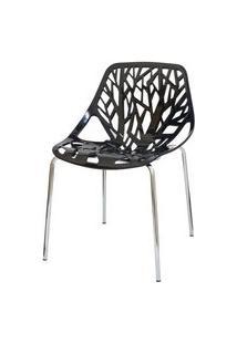 Cadeira Planta Preta Base Cromada - 15108 Preto