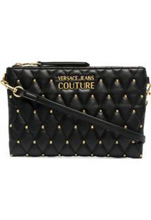 Versace Jeans Couture Clutch Matelassê De Couro - Preto