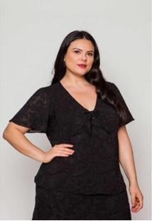Blusa Almaria Plus Size Pianeta Crepe Feminina - Feminino-Preto