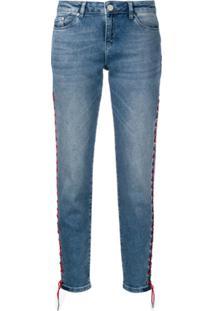 Karl Lagerfeld Calça Jeans Girlfriend Com Detalhe Transpassado - Azul