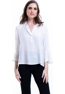 Camisa 101 Resort Wear Lisa Viscose Polo Mangas Flare 34 Branco Off
