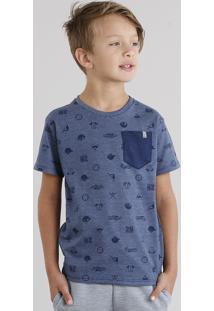 Camiseta Infantil Estampada Com Bolso Manga Curta Gola Careca Azul Marinho