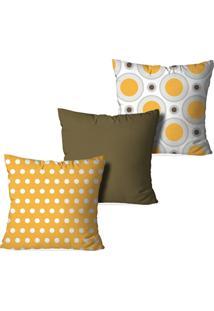 Kit 3 Capas Love Decor Para Almofadas Decorativas Círculos Amarelo