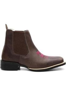 Bota Texana Valente Boots Cano Curto Bordada Feminina - Feminino-Cafe