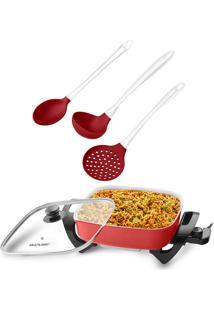 Combo Cozinha - Panela Elétrica Multilaser 1250W 127V Vermelha E Kit Para Servir De Silicone Cabo Acrílico - Ud037K Ud037K